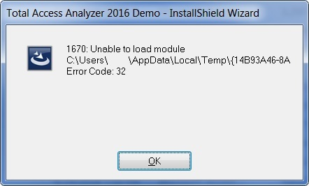 1670: Unable to load module C:\Users\<user>\AppData\Local\Temp\<text